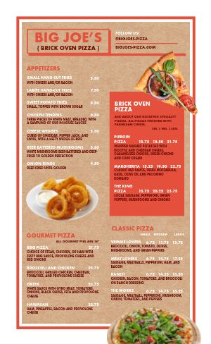 Brick Oven Pizza Menu Example
