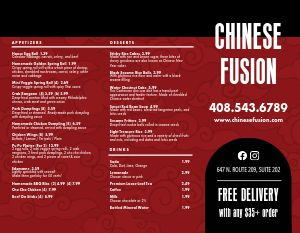 Chinese Fusion Takeout Menu