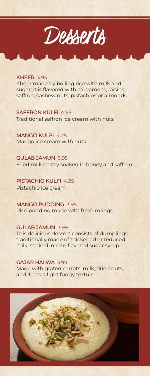 Indian Palace Half Page Menu