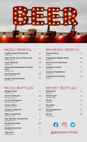 Beer Selection Menu