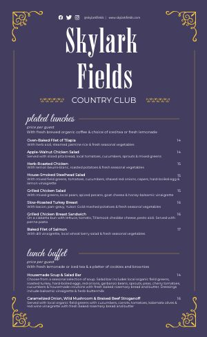 Elegant Country Club Catering Menu