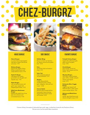 Colorful Burger Menu