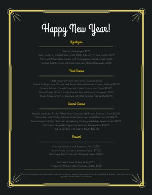 Happy New Year Menu