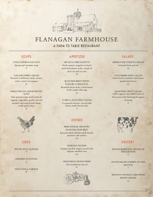 Farmhouse Fine Dining Menu