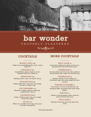 Exposed Bar Menu