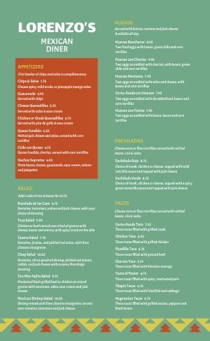 Green Diner Mexican Menu