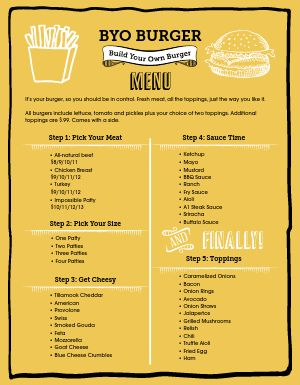 Build Your Own Burger Menu
