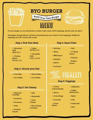 Build Your Own Burger Menu