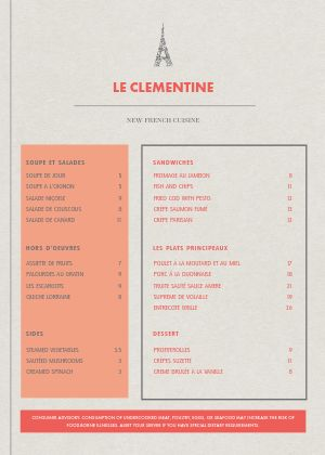 Contemporary French A4 Menu