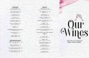 Pink Wine List Folded Menu