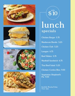 Cafe Lunch Specials Menu