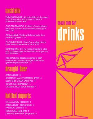 Pink Bar Menu