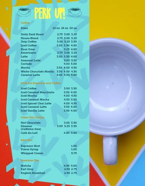 Perky Coffee Menu