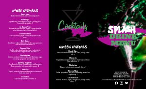 Cocktails Night Club Folded Menu