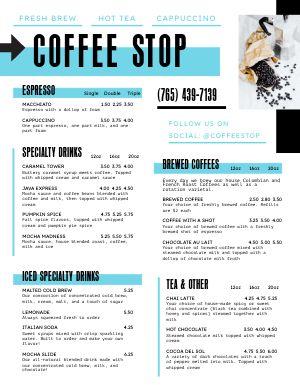 Casual Coffee Cart Menu