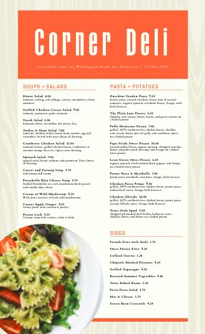 Deli Lunch Menu