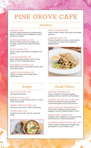 Color Splash Cafe Menu