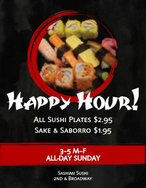 Sushi Happy Hour Flyer
