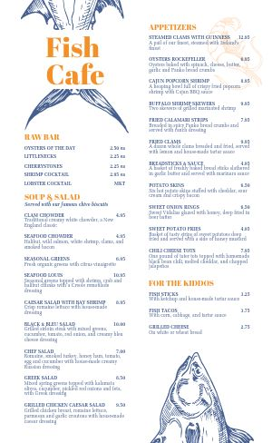 Seafood Cafe Menu