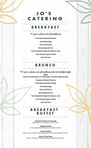 Wooden Catering Menu