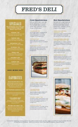 Paper Sandwich Deli Menu