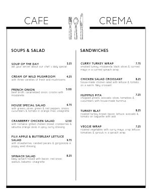 Cafe Border Menu