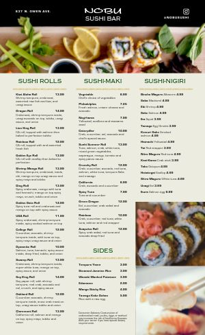 Sushi Bar Japanese Menu