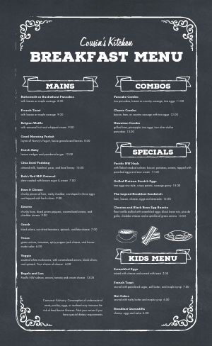 Chalkboard Breakfast Menu