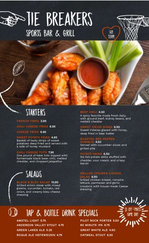 Wings Sports Bar Menu