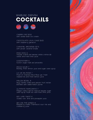 Artistic Bar Menu
