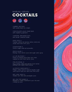Artistic Bar Menu