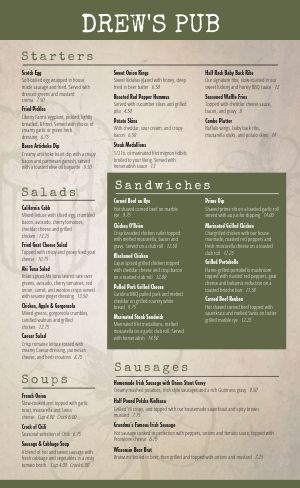 Irish Cuisine Menu