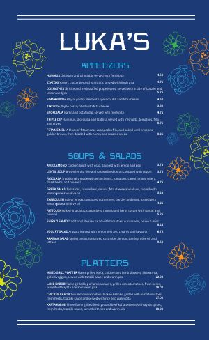 Greek Eatery Menu
