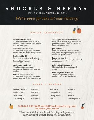Temp Takeout Menu