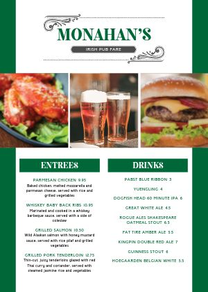 Irish Pub A4 Menu