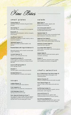 Colorful Fine Dining Menu