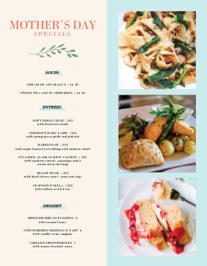 Mothers Day Specials Menu