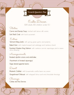 French Easter Menu