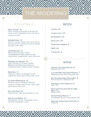 Modernistic Bar Menu