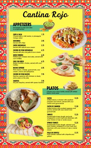 Colorful Mexican Restaurant Menu