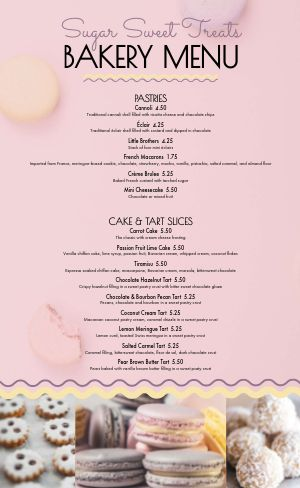 Sweet Treats Bakery Menu