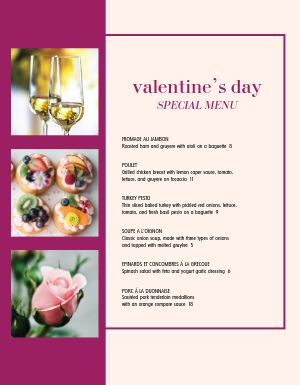 Romantic Valentine's Day Specials Menu