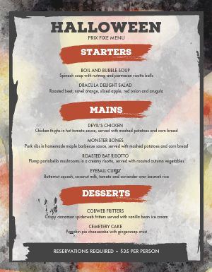 Halloween Seasonal Menu