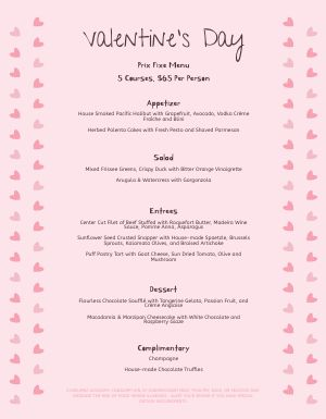 Pink Valentines Day Menu
