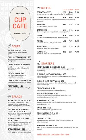 Sample Lunch Cafe Menu