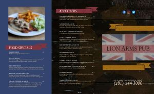 English Pub Takeout Menu Example