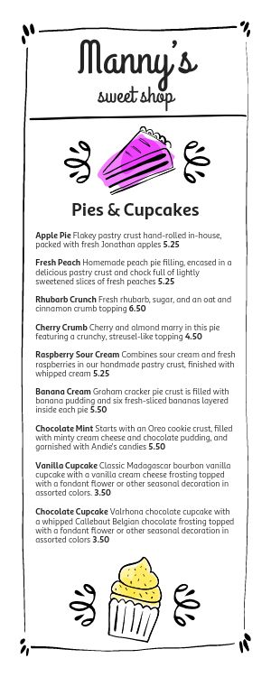 Sweet Shop Half Page Menu