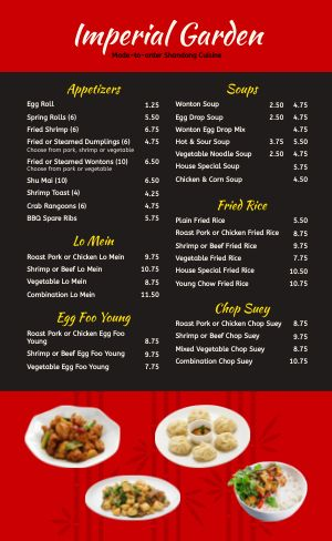 Customizable Chinese Menu