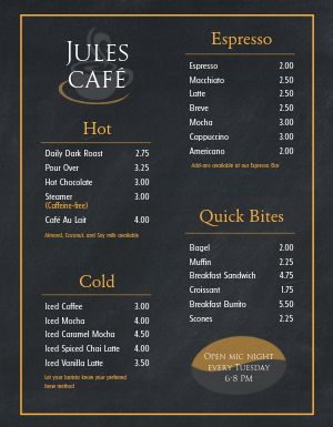 Cafe Promotion Menu