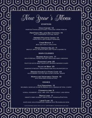 Blue New Years Menu